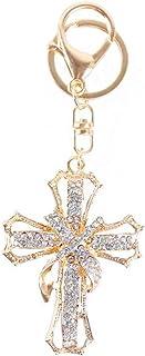 JewelBeauty Blessed & Holy Cross Keychain Keyring Crystal Rhinestones Car Bag Purse Charm Pendant (White)