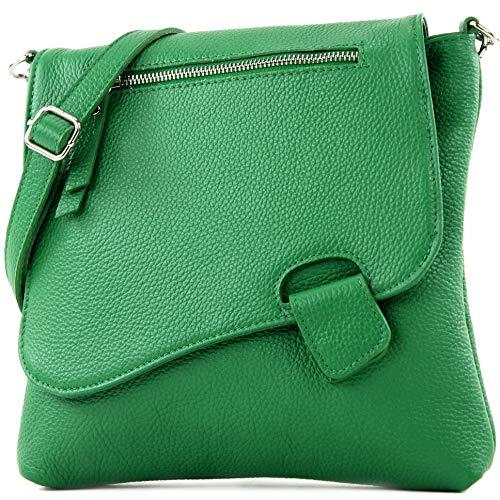 modamoda de - T146 - ital Messenger-/Umhängetasche aus Leder, Farbe:Blattgrün