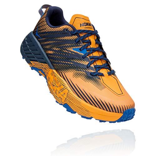 HOKA ONE ONE Speedgoat 4 Trail Runner para hombre, amarillo (Azafrán/Iris Negro), 43 EU