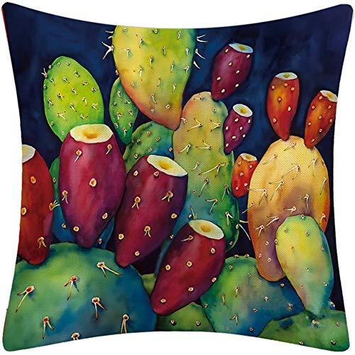 Yuhualiyi123 Durable 4pcs Tropical cacto suculento Lino Funda de Almohada en Maceta Imprimir Cubierta de Almohadas Inicio de la Tela Fundas de colchón para decoración (Color : XR-3, Size : 45 * 45cm)