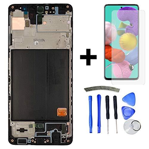 Hypak Pantalla Super AMOLED para Samsung Galaxy A51 (Completa con Marco) Repuesto Cristal Tactil Digitalizador