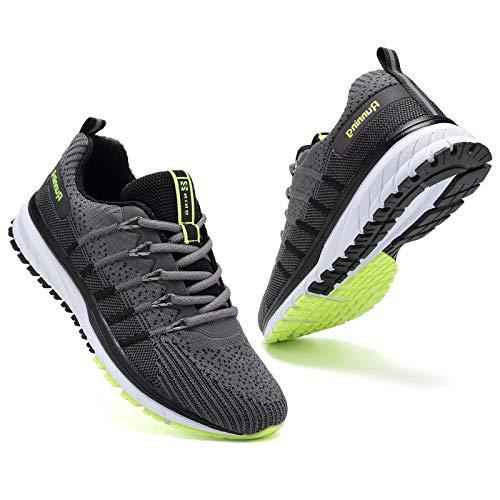 Zapatillas deportivas para hombre y mujer, con cojín de aire, transpirables, ligeras, para caminar, gimnasio, correr, fitness, atletismo, casual, color Gris, talla 39 2/3 EU