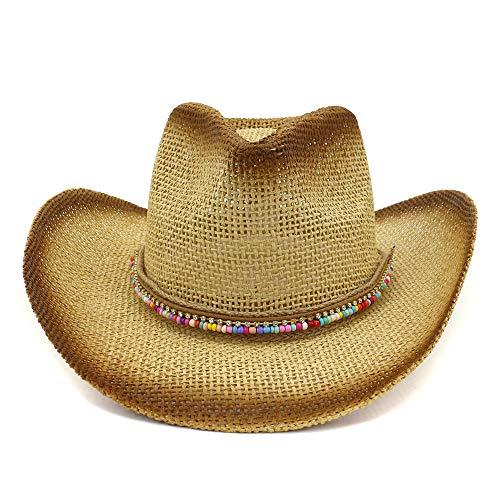 Visera de Sombrero de Paja de Vaquero Pintado Sombrero de Sol de ala Ancha Sombrero de Playa al Aire Libre Visera