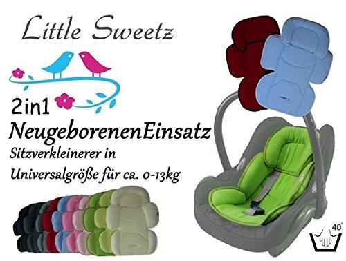 Little Sweetz ORIGINALS ** Auto-Sitzverkleinerer 2in1 Cosy Soft MAXI ** Sommer- und WinterSeite -- Ideal auch für Maxi Cosi, Cybex etc. sowie Kinderwagen, Hochstuhl etc. (Grau)