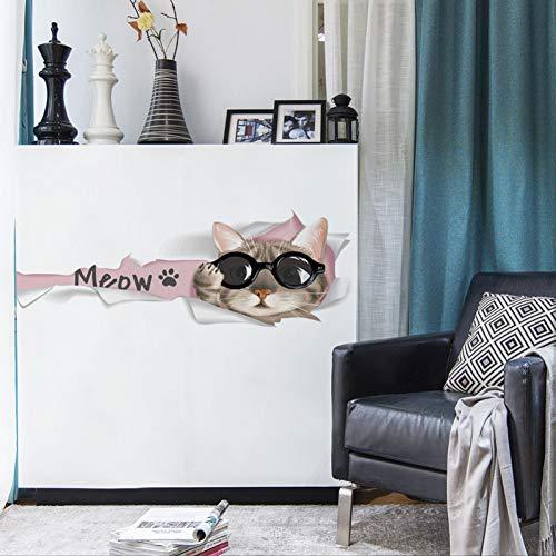 Mooie cartoon meow kat muursticker voor woonkamer kastdeur hoofddecoratie muurkunst sticker behang deur muursticker