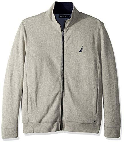 Nautica Men's Long Sleeve Zip Front Mock Neck Sweatshirt, Grey Heather, Large