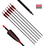 """MS JUMPPER Archery Carbon Arrows 400 Spine with 4"""" Real Feather Fletching 100 Grain Points for Compound Recurve Longbow (12 Pack) (30 Inch Arrows)"""