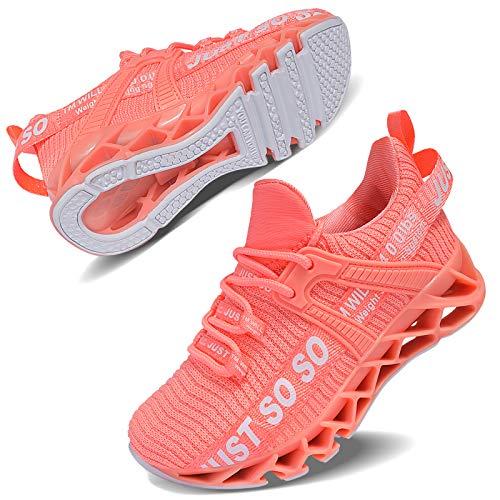 Vivay Unisex-Kinder Turnschuhe Sportschuhe Hallenschuhe Leicht Atmungsaktiv Laufschuhe Sneaker für Jungen Mädchen,2Pink,34 EU