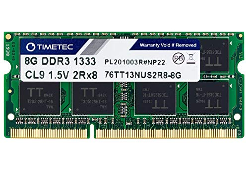 Timetec Hynix IC 8GB DDR3 1333MHz PC3-10600 Unbuffered Non-ECC 1.5V CL9 2Rx8 Dual Rank 204 Pin SODIMM Portatil Memoria Principal Module Upgrade (8GB)