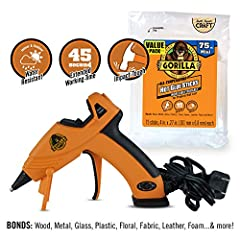 Glue gun features: dual temp, precision nozzle, easy squeeze trigger, enhanced safety features, built-in stand, wide base Gorilla hot glue sticks: weather resistant for indoor and outdoor use, safe for both high & low temperature glue guns, 45 second...