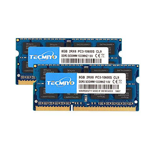TECMIYO 16 GB Kit (2 x 8 GB) DDR3 1333 MHz PC3-10600 Unbuffered Non-ECC 1,5 V CL9 2Rx8 Dual Rank 204 Pin SODIMM Laptop RAM Modul Upgrade