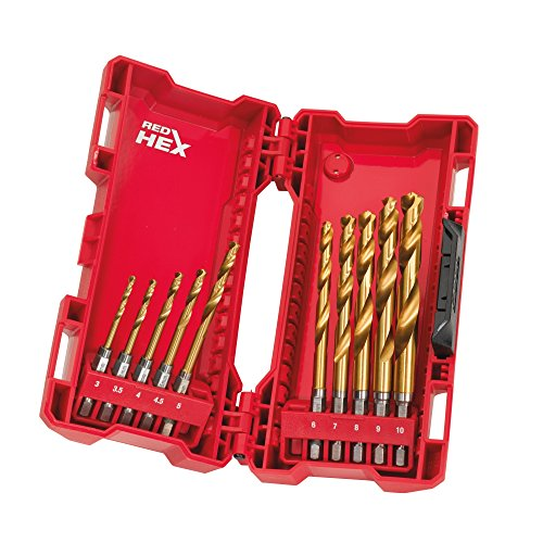 Milwaukee Hss-G 10PC Titanium Red Hex Drill Bits