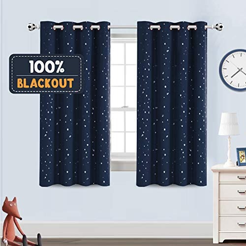 """Blackout Kids Curtains for Bedroom Thermal Insulated Silver Twinkle Star Curtains for Boys Girls Antique Grommet Top Window Treatment 2 Panels Drapes for Nursery, Soft Thick (52""""W x 63""""L, Navy)"""