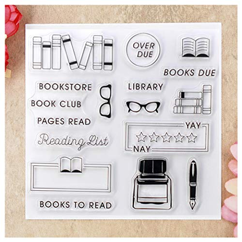 Kwan Crafts Books to Read Bookstore Book Club Reading List Clear Stamps for Card Making Decoration and DIY Scrapbooking