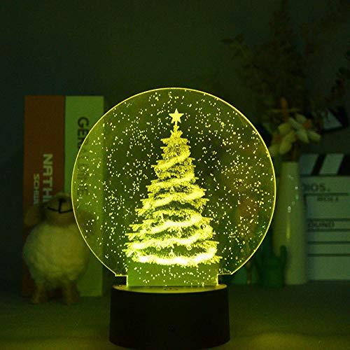 3D ilusión lámpara de noche 3D lámpara de ilusión óptica 3D árbol de Navidad 16 colores cambio automático interruptor táctil decoración escritorio Lámparas regalo con control remoto