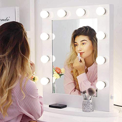 Chende Large Lighted Vanity Mirror in Bedroom Vanity Set, 25.6'' x 19.7'' Hollywood Mirror with Dimmable Light Bulbs for Makeup, Wall Mounted or Standing (White)