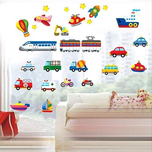 Cartoon Trucks Tractoren Auto's Muurstickers Kinderkamers Voertuigen Muurstickers Art Poster Fotobehang Home Decor Muursticker
