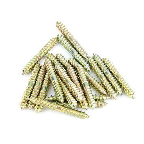 Tornillo de pasador - Tornillo de clavija de 5 * 40 mm Tornillo para muebles de carpintería Tornillo de doble extremo, paquete de 20