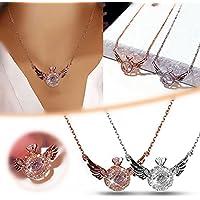 Qikafan Fashion Angel Wings Pendant Rhinestone Necklace