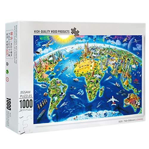 Deajing 1000 Piezas Puzzles Adultos Paisajes Puzzles Mapa del Mundo Puzzles Juguetes Niños Educa Puzzles para Adultos y Niños Juego de Rompecabezas