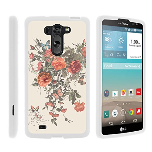 TurtleArmor | Compatible with LG G Vista Case | LG G Pro 2 Lite Case [Slim Duo] Slim Snap On 2 Piece Hard Cover Protector Case Girl on White - Elegant Roses