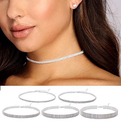 Cryshimmer 5 Pieces Dainty Rhinestone Choker Necklace Silver Plated Adjustable Chain Clear Crystal Choker Necklace Set for Women Girls (1 to 5 rows)