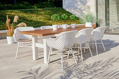 Hartman Yasmani/Delphine - Juego de 6 sillas (Aluminio y Madera de Teca Trenzada, 240 x 100 cm), Color Blanco, marrón y mocacino