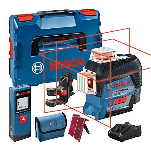 Bosch Professional Linienlaser GLL 3-80 C + Entfernungsmesser GLM 20 (1x Akku 12 V, roter Laser, mit App-Funktion, Arbeitsbereich: bis 30 m, in L-BOXX) – Amazon Edition