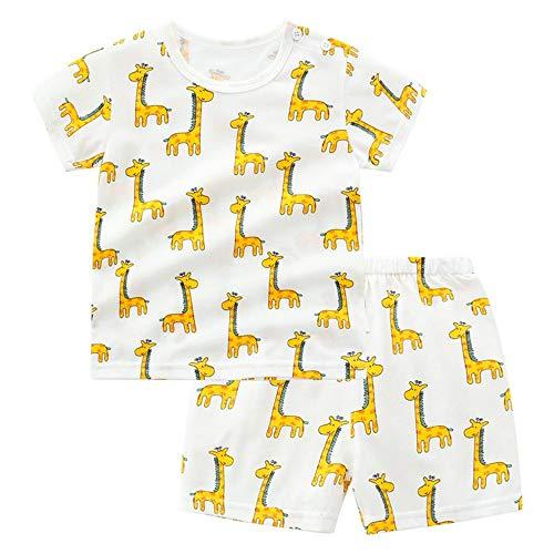 Fansu Pijamas de Manga Corta para Niños y Niña, Pijamas Dos Piezas Bebé Verano Suave y Cómoda Ropa Algodón de Ajuste Juego de Pijama Camisetas y Pantalones (80cm(18M),Jirafa Amarilla)