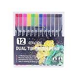 GEVJ Dibujo Acuarela Marker Liner Rotuladores Twin Head Brush Pen Painting Art Supplies 12/24/72 Colores
