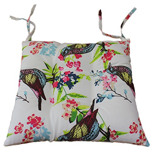 Tropik home Comfortable Seat Pads, Garden Kitchen Dining Chair Cushions Tie On (Birds)