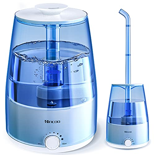 Hincoo Cool Mist Humidifiers for Large Room (4L), Top Fill Ultrasonic Humidifiers for Bedroom Quiet with Essential Oil Diffuser, Plant Humidifiers with Featured Extension Tube, Auto-Shut Off