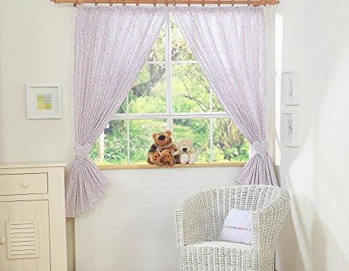 Paire de rideaux de chambre d'enfant avec embrases - Liberty rose et vert - Fabrication européenne