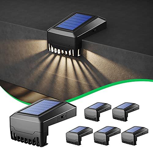 Solar-Stufenlicht, 6er-Pack Solar-Außenzaunlicht Wasserdichtes Außen Garten Solar Licht für Terrassen, Treppen, Höfe, Gartenwege, Stufen und Zäune, Warmweiß