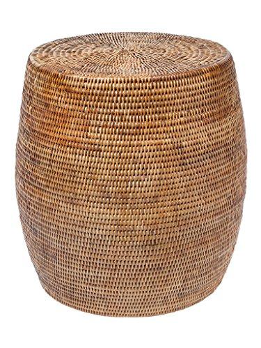 Kouboo La Jolla Round Handwoven Rattan Stool/Side Table, 18' by 18', Honey-Brown