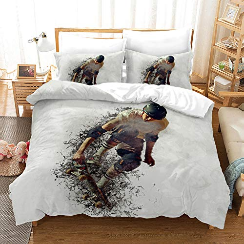 B/A Duvet Cover Set Skateboarder 3 PCS with Zipper Closure Non-Iron Polyester Easy Care Soft Microfiber Bedding Set plus Pillowcases Fade & Stain Resistant 94.48 x 86.61 inch