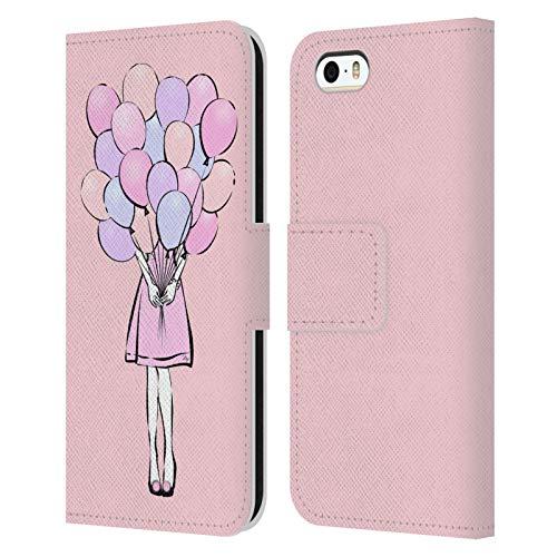 Head Case Designs Licenza Ufficiale Martina Illustration Palloncini Signore Cover in Pelle a Portafoglio Compatibile con Apple iPhone 5 / iPhone 5s / iPhone SE 2016
