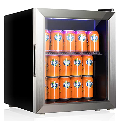 Advanics Frost Free Beverage Cooler Refrigerator, 60 Can Mini Drink Fridge with Glass Door & Stainless Steel Trimed, Blue LED Light