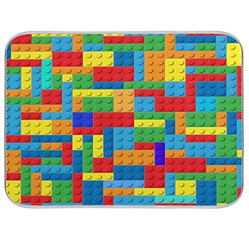 Alfombrilla de secado de platos para mostrador de cocina, Lego Blocks Ultra Absorbente, tapete de secado de microfibra, escurridor, 16 x 18 pulgadas, lavable a máquina