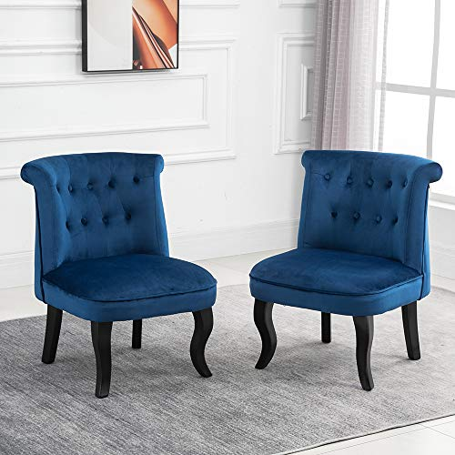 QIHANG-UK Retro Tub Chairs Set of 2, Soft Padded Wing Back Leisure Chiar Velvet Lounge Sofa Chair, Accent Occasional Chair with Wood Curved Legs for Living Room Bedroom Reception Room, Blue