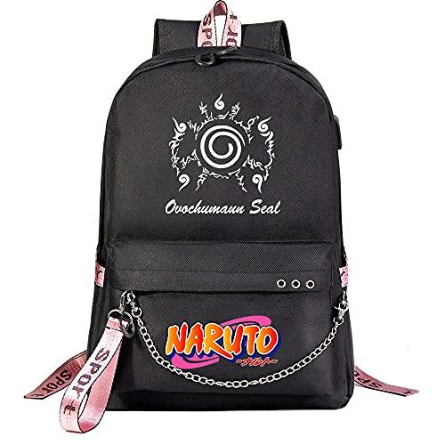 ZZGOO-LL Uzumaki Naruto/Sharingan with Chain USB Anime Laptop Backpack Bag Travel Mochilas Daypacks Bolso Ligero Black-D