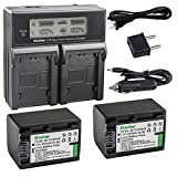 Kastar LCD Dual Smart Fast Charger & 2 x Battery for Sony NP-FV70, NP-FH70 and...