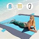 GeeMart Coperta da Spiaggia 210x200cm, Impermeabile Antisabbia Portatile Pieghevole Tappetino da Picnic, per 4-7 Persone con 5 Picchetti Fixed per Escursionismo Campeggio Spiaggia Picnic