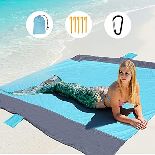 GeeMart Alfombras de Playa, 200x210cm Manta Playa Ultraligera Portátil, Toalla Playa Familiar con 5 Estaca Fijos y 1 Mosquetón, para la Playa Camping ✅
