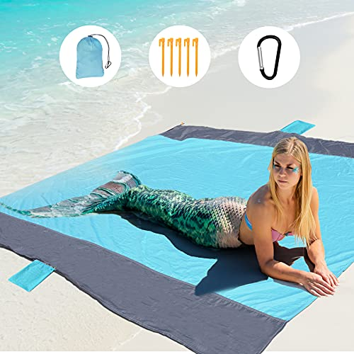 GeeMart Alfombras de Playa, 200x210cm Manta Playa Ultraligera Portátil, Toalla Playa Familiar con 5...