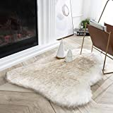 Ashler Ultra Soft Faux Fox Fur Gug White Brown Fluffy Area Rug, Carpets Fluffy Rug Chair Couch Cover for Bedroom Floor Sofa Living Room 2 x 3 Feet