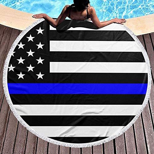 Nazi Mie Thin Blue Line Blue Lives Matter Flag.PNG Round Toalla de Playa Manta Alfombra de Picnic