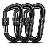 MVZAWINO Locking Carabiner Clips, 12KN/2697lbs Carabiners Heavy Duty, 3 Pack, Aluminium Ultra Sturdy & Light Caribeaners for Hammocks, Swing, Locking Dog Leash and Harness, Camping, Hiking & Utility