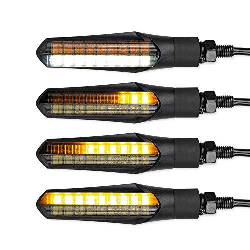 2 Stück E-Geprüfter LED Lauflicht Blinker mit Tagfahrlicht - Sequenzielle LED Blinker fürs Motorrad mit Tagfahrlicht DRL und Prüfzeichen - 12V Laufeffekt Blinker - Wasserdichter Lauflichtblinker