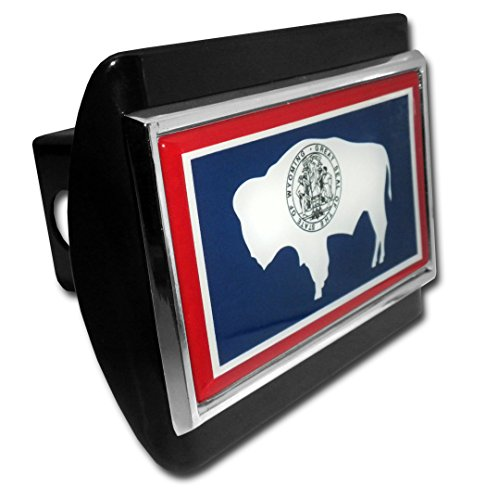 Wyoming Flag All Metal Black Hitch Cover